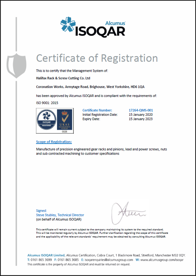 Halifax RS certificate of registration